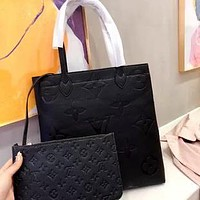 LV 2020 new wild female embossed tote bun and mother bag two-piece set