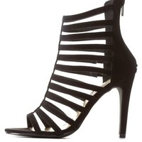 Black Super Strappy Caged High Heels by Charlotte Russe