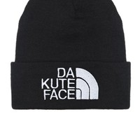Black Da Kute Face Beanie with White Embroidery
