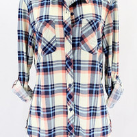 Plaid Button Up - Ivory Multi