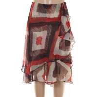 Lauren Ralph Lauren Womens Printed Tiered A-Line Skirt