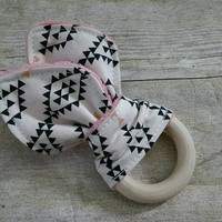 Baby girl wooden teether - untreated organic maple wooden ring - aztec black coral minky fabric teething ring - 2.5in. ring