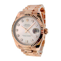 Rolex Rose Gold New-Style Midsize Datejust Wristwatch with Diamond Dial | 1stdibs.com