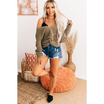 Knot An Issue Front Twist Long Sleeve Top (Vintage Khaki)
