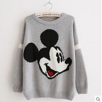 Europe Russia Autumn Winter Mickey Mouse Pattern Cartoon Print Knitting Sweater Women Student gray brown Casual Loose Pullover