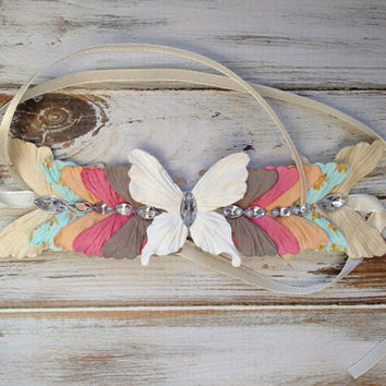 Country Girl Butterfly Flowercrown Bun Crown Vintage Love Women's Accessories Hair Accessories Headband
