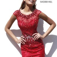 Sherri Hill 9718 - Red Fitted Beaded Homecoming Dresses Online