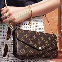 LV Louis Vuitton Vogue Women Shopping Bag Leather Handbag Tote Satchel Shoulder Bag Three-Piece