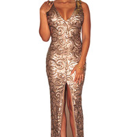 Gold Sequined Front Slit Padded Maxi Gown