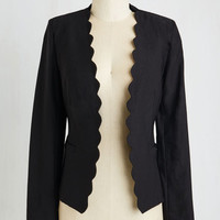 Statement Short Length Long Sleeve Detour to Dashing Blazer in Black by ModCloth