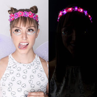 LED Cheshire Cat outfit crown LED Flower crown for Coachella raves and music festivals cosplay EDC electric forest rave outfit