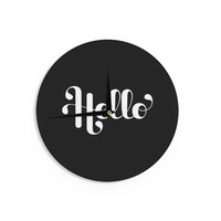 "Roberlan ""Hello"" White Black Wall Clock"