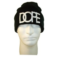 3d Embroidered Dope Beanie Cap Hat (One Size, Black/white)