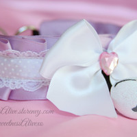 Lavender and White Polka dot Lace Collar + Giant Glitter Bell
