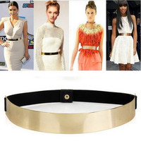 1pcs Slim Elastic Metallic Bling Simple Fashion Band Gold Plate Metal Waist Belt
