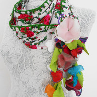 Turkey scarf, ethnic, spring flowers, leaves, ethnic, authentic, ethnic accessories, ethnical,all handmade, woman accessories, white, pink