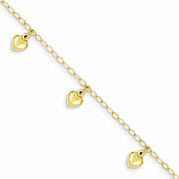14K Childs Puffed Heart Charm Bracelet