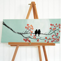 Original Canvas Painting Love Bird Painting Mint and Coral Wedding Gift for Couple Love Birds Art Love Painting Anniversary Gift for her
