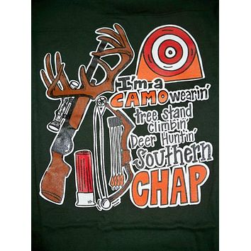SALE Southern Chaps Funny Tree Stand Camo Fish Hunt Country Bright T Shirt