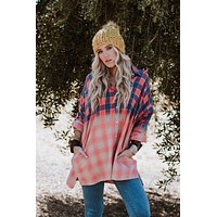 Bleached Flannel Button Up Top - Coral