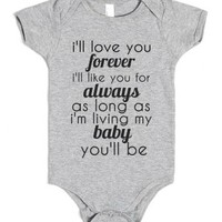 I'll love you forever-Unisex Heather Grey Baby Onesuit 00