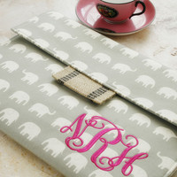 Monogrammed Elephant Tablet or Laptop Sleeve