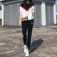 """Adidas"" Women Casual Fashion Multicolor V Stripe Short Sleeve Split Pants Trousers Set Two-Piece Sportswear"