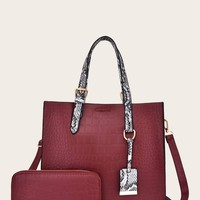 Croc Embossed Tote Bag With Purse 2pcs