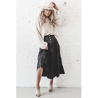 Still Get Jealous Black Button Midi Skirt