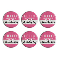 Audrey Hello My Name Is Plastic Resin Button Set of 6
