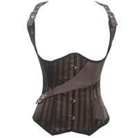 2014 Plus Size Sexy Steel Boned Underbust Corset Waistcoat Corset Waist Training Corsets Bustier Brown Steampunk Leather Corset Gothic Corselet