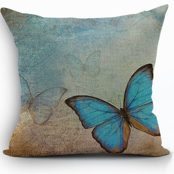 blue butterfly cushion cover shabby chic home decor decorative country pillow covers sofa pilow pillowcase mermaid almofada