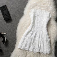 White Dress with Embroidery Pattern #174