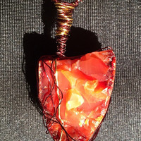 One of a kind Chestnut Jasper Healing Crystals Necklace Madagascar red for her gift
