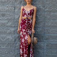Bohemian Style Flowers Printed V-neck Wine Red Single-breasted Straps Maxi Split Dress Open Back