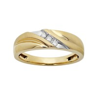 1/10 Carat T.W. 10k Gold Wedding Band - Men (Yellow)