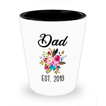 New Dad Gifts Expecting Daddy to Be Baby Shower Gift Pregnancy Announcement Dad Est 2019 Ceramic Shot Glass
