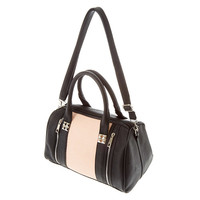 Taupe Faux Leather Satchel Bag