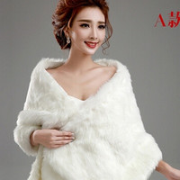 new 2014 wedding jacket Bride cape winter bride red beige pearl ball thermal fur shawl bolero women wedding coat ivory color zkc uncle (Size: M, Color: White) = 1929794564