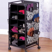 Women's Damask Rolling Shoe Storage Organizer Unit W/Bins & Pockets Bedroom
