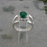 Emerald Faceted Oval 8x6 925 Sterling Silver Ring CC-07040