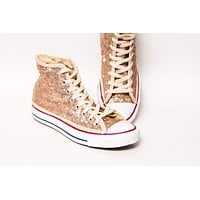 Champagne Gold Starlight Sequin High Top Sneakers
