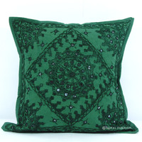 Indian Green Mirror Embroidered Cotton Throw Cushion Cover