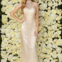 G2071 Jeweled Gold Halter Prom Pageant Dress Evening Gown