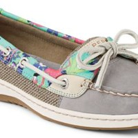 Sperry Top-Sider Angelfish Flamingo Floral Slip-On Boat Shoe Gray, Size 6.5M  Women's Shoes