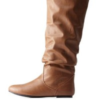 Tan Slouchy Flat Knee-High Boots by Charlotte Russe