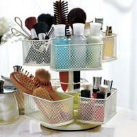 Rotating Makeup Carousel turns in a circle Six open baskets
