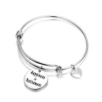 ENSIANTH Retirement Gift Happiness is Retirement Bangle Bracelet Gift for Parents Teacher Gift Thanksgiving Jewelry