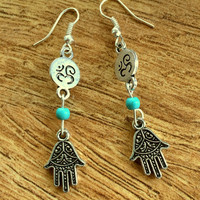 Ohm Earrings Hamsa Hand Earrings Yoga Jewelry Yoga Earrings Dangle Earrings Ohm Spiritual Boho Earrings Bohemian Turquoise Earrings