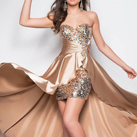 Beaded Front Short Long Back Hi-Low Sequins Evening Prom Party Dress Evening Gown
